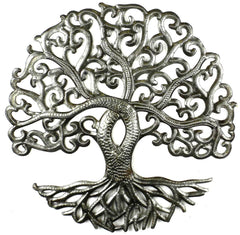 HMDSTREE3 Curly Tree of Life Oil Drum Metal Wall Art 14"