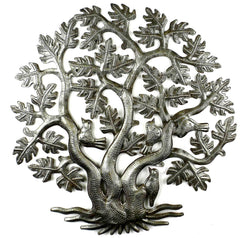 HMDSTREE4 3-Trunk Tree of Life with Birds Metal Wall Art 14"