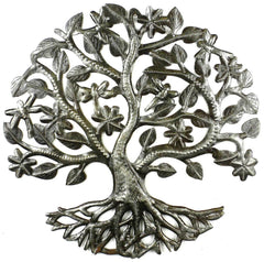 HMDSTREE5 Tree of Life w/Dragonflies & Flowers Metal Art 14"