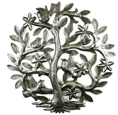 HMDSTREE6 Tree of Life w/Birds & Flowers Metal Wall Art 14"