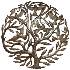 HMDTREE Tree of Life with Birds Oil Drum Metal Wall Art 24"