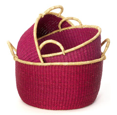 Cranberry Set Of 3 Bolga Open Nesting Floor Storage Baskets