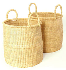 gh45a All Natural Set of 2 Bolga Open Nesting Laundry Basket Hampers | Ghana Fair Trade by Swahili Imports