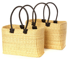 gh48 Moroccan Style Set of 2 Natural Totes with Black Leather Handles | Senegal Fair Trade by Swahili Imports