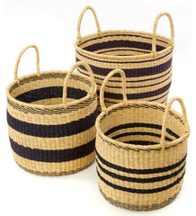 gh56 Black & Natural Stripe Set/3 Open Nesting Hamper Storage Baskets | Senegal Fair Trade by Swahili Imports