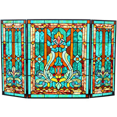River of Goods 16452 | Fleur de Lis Teal 3-Panel Stained Glass Decorative Fireplace Screen | Image 1 - Main