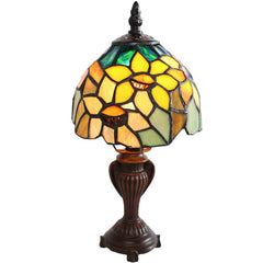 River of Goods 12275 | Sunflower Blossoms Mini Stained Glass 12 inch Accent Lamp | Image 1 - Main