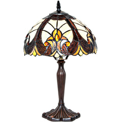 River of Goods 12301 | Halston Ivory Small Stained Glass 16 inch Accent Lamp | Image 1 - Main