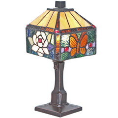 River of Goods 12310 | Butterfly Rose Mini Stained Glass 11.75 inch Accent Lamp | Image 1 - Main