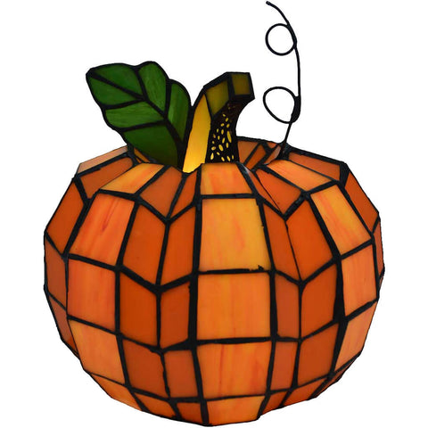 Patch the Pumpkin Stained Glass Accent Lamp | 9 inches
