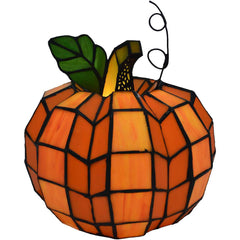 River of Goods 14730 Patch the Pumpkin Stained Glass Accent Lamp | 9 inches | Image 1 - Main