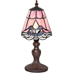 River of Goods 14732 | Crystal Lace Pink Mini Stained Glass 12.25 inch Accent Lamp | Image 1 - Main