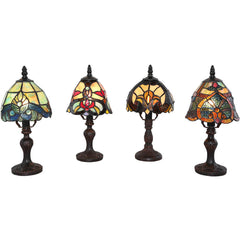 River of Goods 15740 | Family Favorites Set of 4 Mini Stained Glass 12 inch Accent Lamps | Image 1 - Main