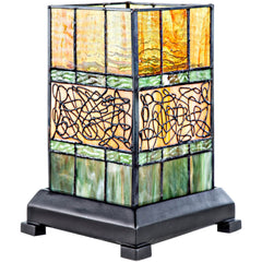 River of Goods 16365 | Craftsman Green Stained Glass 9.63 inch Hurricane Accent Lamp | Image 1 - Main