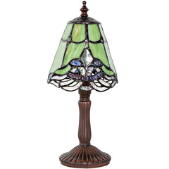 River of Goods 16369 | Crystal Lace Green Mini Stained Glass 12.25 inch Accent Lamp | Image 1 - Main