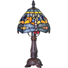 River of Goods 9159 | Hanging Head Dragonfly Mini Stained Glass 12 inch Accent Lamp | Image 1 - Main