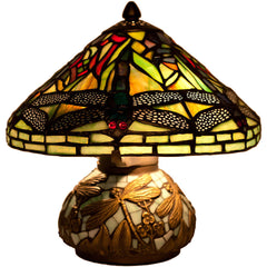 River of Goods 9578 | Dragonfly Yellow Stained Glass 10.5 inch Accent Lamp with Mosaic Base | Image 1 - Main