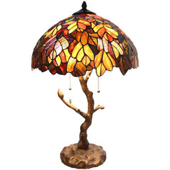 River of Goods 11126 | Autumn Leaves Stained Glass 24.5 inch Table Lamp with Tree Trunk Base | Image 1 - Main
