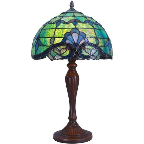 River of Goods 12150 | Allistar Green Stained Glass 20.5 inch Table Lamp | Image 1 - Main