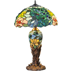 River of Goods 14696 | Fantastic Feodora Stained Glass 26 inch Table Lamp with Lighted Base | Image 1 - Main