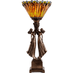 River of Goods 14766 | Art Deco Stained Glass 27 inch Table Top Torchiere with Figural Base | Image 1 - Main