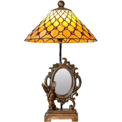 River of Goods 15036 | Cherub Stained Glass 23 inch Figural Table Lamp with Mirror | Image 1 - Main