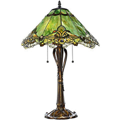 River of Goods 15054 | Crystal Lace Sea Green Stained Glass 24.5 inch Table Lamp | Image 1 - Main