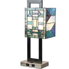 River of Goods 19322 | Daxton Stained Glass 20.25 inch Table Lamp with 2 USB Ports | Image 1 - Main