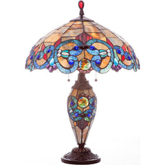 River of Goods 9901 | Corrista Amber & Blue Stained Glass 26 inch Table Lamp w/ Lighted Base | Image 1 - Main