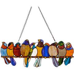 River of Goods Birds on a Wire Decorative Stained Glass Hanging Window Panel | Main Image