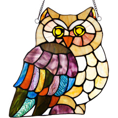 River of Goods 11137 | Hoot's Owl Decorative Stained Glass Hanging Window Panel | Image 1 - Main
