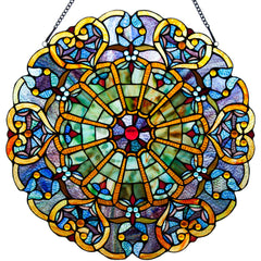 River of Goods 12790 | Webbed Hearts Blue Decorative Round Stained Glass Hanging Window Panel | Image 1 - Main