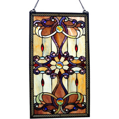 River of Goods 13270 | Brandi Amber Decorative Rectangular Stained Glass Hanging Window Panel | Image 1 - Main