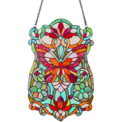 River of Goods 13428 | Butterfly Fleurs Decorative Stained Glass Hanging Window Panel | Image 1 - Main
