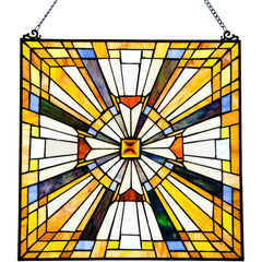 River of Goods 13483 | Pharaoh's Jeweled Decorative Square Stained Glass Hanging Window Panel | Image 1 - Main