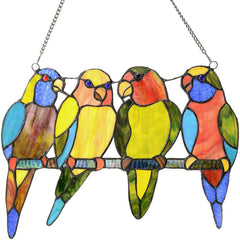 River of Goods 14469 | Tropical Birds Parrots Decorative Stained Glass Hanging Window Panel | Image 1 - Main