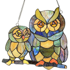 River of Goods 14470 | Friendly Owls Decorative Stained Glass Hanging Window Panel | Image 1 - Main