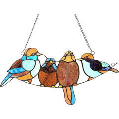River of Goods 14472 | Song Birds Decorative Stained Glass Hanging Window Panel | Image 1 - Main