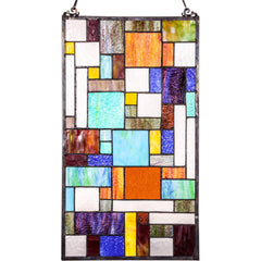 River of Goods Abstract Java Decorative Stained Glass Hanging Window Panel | Main Image