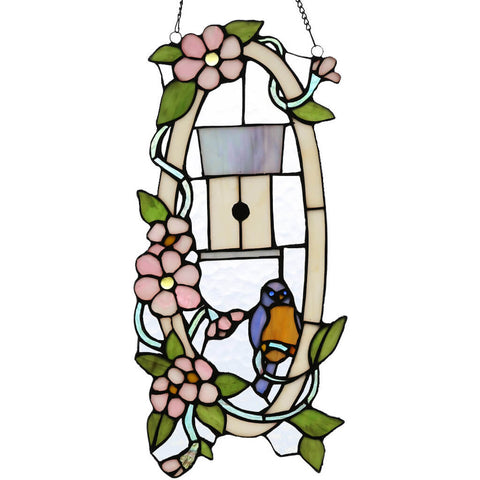 River of Goods 14729 | Blue Bird Casa Decorative Oval Stained Glass Hanging Window Panel | Image 1 - Main