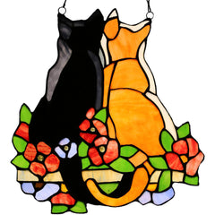 River of Goods 14924 | Cats in the Garden Decorative Stained Glass Hanging Window Panel | Image 1 - Main