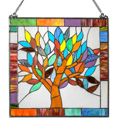River of Goods 15042 | Mystical World Tree Square Stained Glass Hanging Window Panel | Image 1 - Main
