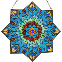 River of Goods 15045 | Peacock Star Decorative Stained Glass Hanging Window Panel | Image 1 - Main