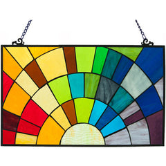 River of Goods 15107 | Rays of Sunshine Decorative Stained Glass Hanging Window Panel | Image 1 - Main