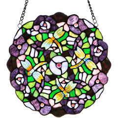 River of Goods 15698 | Purple Pansy Decorative Round Stained Glass Hanging Window Panel | Image 1 - Main