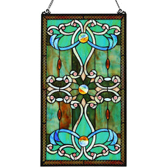River of Goods Brandi Green Decorative Rectangular Stained Glass Hanging Window Panel | Main Image