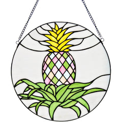 River of Goods Blooming Pineapple Decorative Round Stained Glass Hanging Window Panel | Main Image