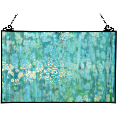River of Goods 16422 | Single Pane Mottled Blue Decorative Stained Glass Hanging Window Panel | Image 1 - Main