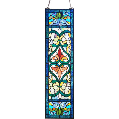 River of Goods 19250 | Victorian Style Decorative Rectangular Stained Glass Window Panel | Image 1 - Main
