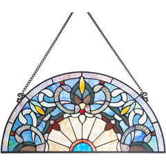 River of Goods 19324 | Corrista Blue Decorative Half-Moon Stained Glass Hanging Window Panel | Image 1 - Main